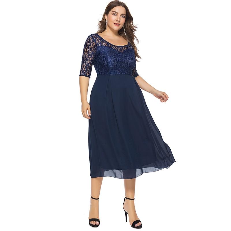 19 Women Spring Autumn Lace Dress O Neck Half Sleeve Plus Size 6XL Patchwork Navy Blue Mid-Calf Chiffon Dress Club Party Dress 2