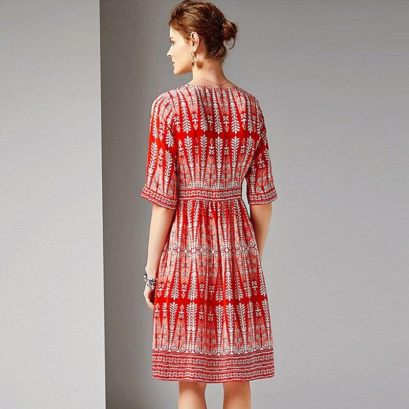 Dress Women 100% Silk Fabric Printed V Neck Half Sleeves High Waist Casual Style Dress New Fashion Spring 19 3