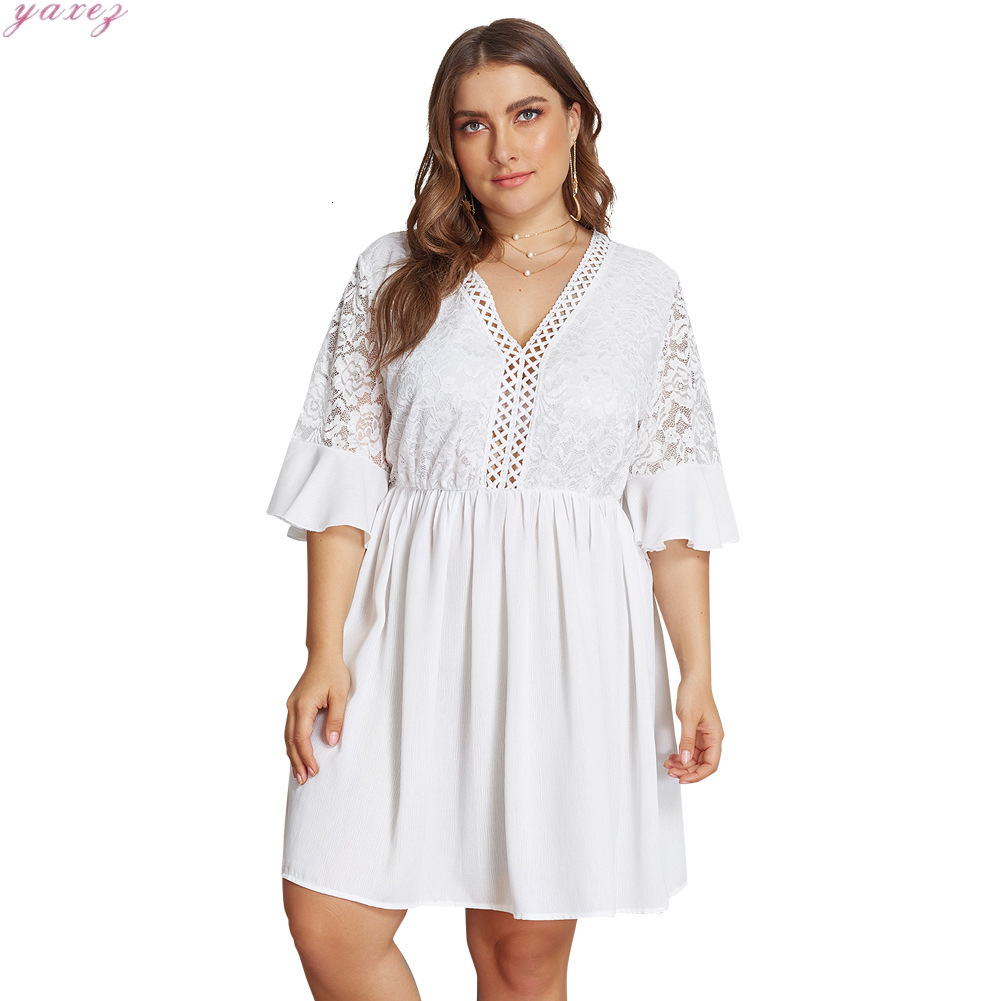 XL-4XL Big Size Lace Half Sleeve Dress Women Casual Solid White Beach Dress 19 Summer Sexy V-neck Hollow Out Mini Dresses 2