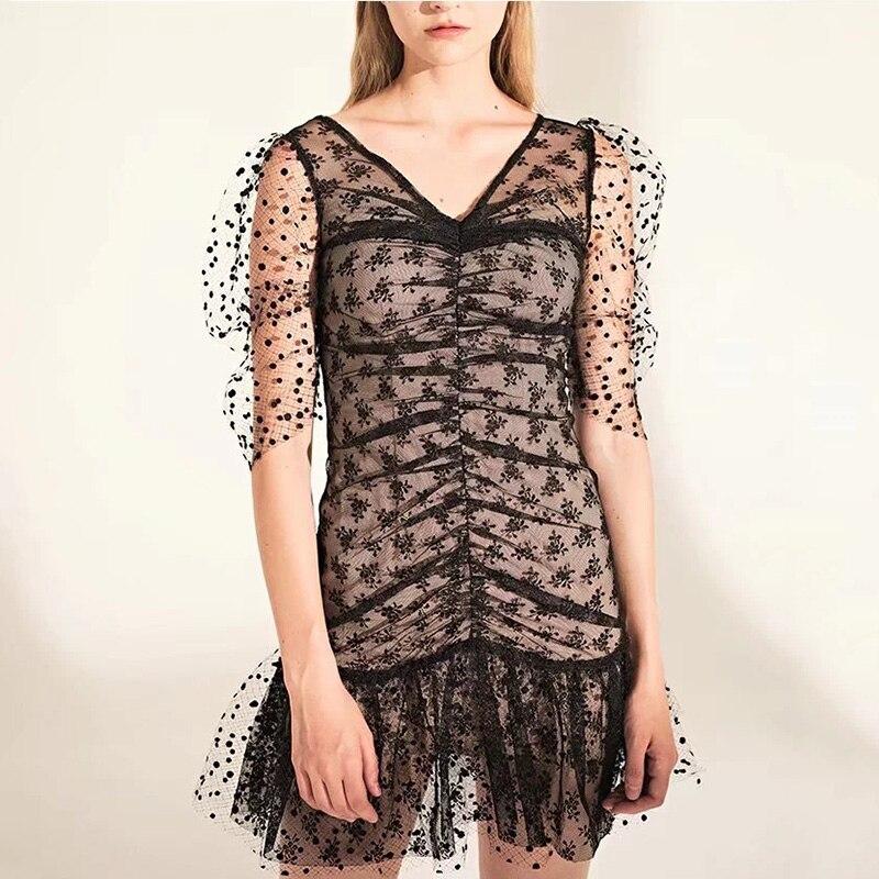 Foridol dot vintage bodycon dress women puff sleeve tulle dress v neck ruched ruffle black sheer dress vestidos  summer 2