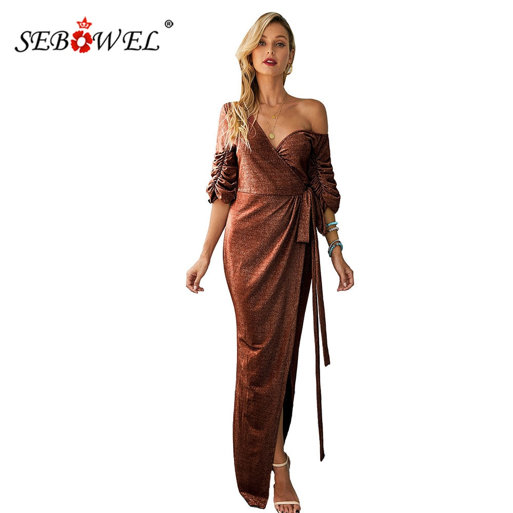 SEBOWEL V Neck Split Sequin Evening Prom Gown Wrapped Dress for Woman Party Night Ruched Puffy Half Sleeve Dresses with Sashes 1