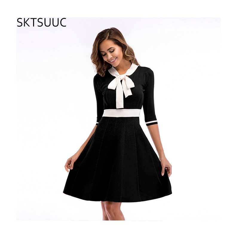 SKTSUUC 19 Women Knitted Dress White Collar With Bow Half Sleeve Office Dresses For Ladies Autumn Women Knitted Dress 1