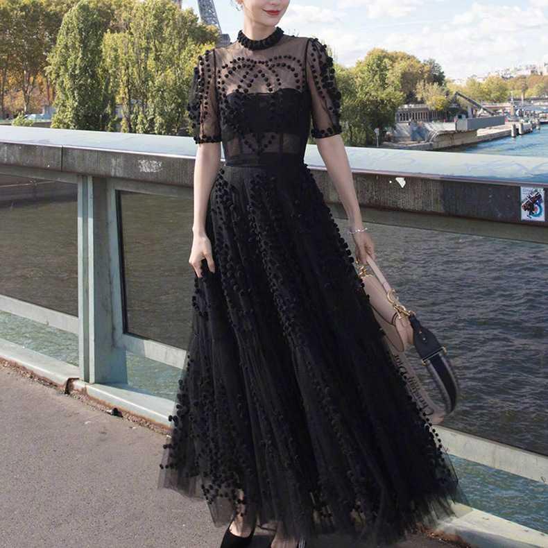Runway Women Mesh Ball Gown Party Long Dress 19 Spring Sexy Black Ball Half Sleeve Slim Boho Dress Elegant Vestidos 2