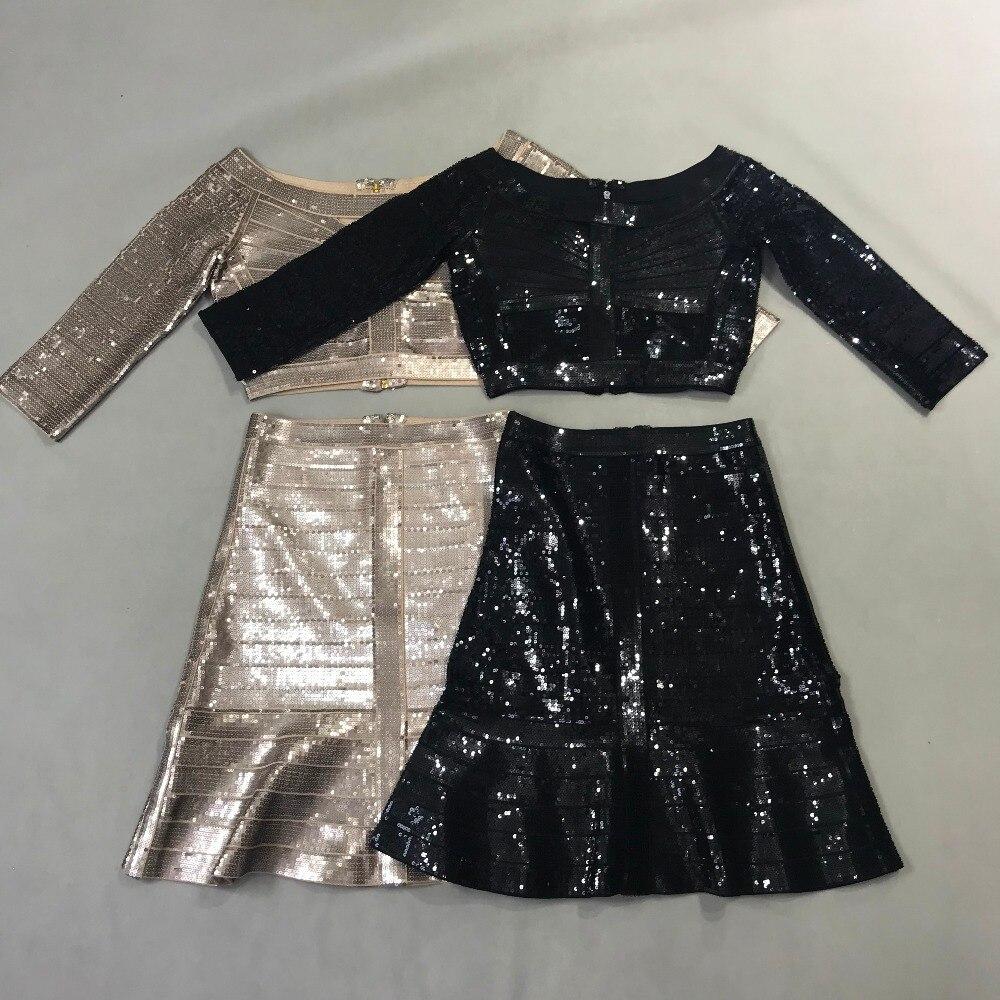 TOP QUALITY Women's HL Bandage Dress Half Sleeve Sexy 2 Pieces A-Line Dress Elegant Evening Party Dress 1