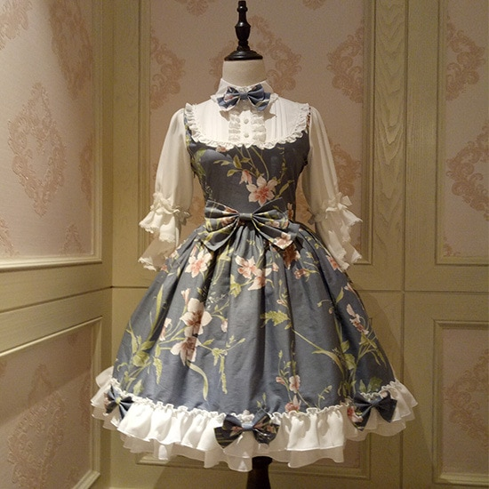 Fairy Princess Lolita Dress Vintage Chinese Style Floral Printed Half Sleeve Lolita OP Dress 3
