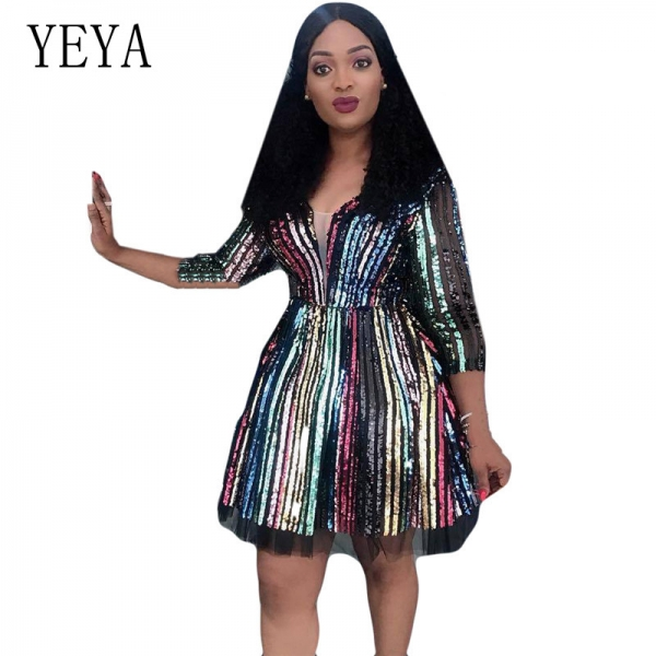 YEYA Color Sequins Stripes V Neck Sexy Dress Elegant Half Sleeve Hollow Out Retro Stylish Mini Dress Women Autumn Party Dresses