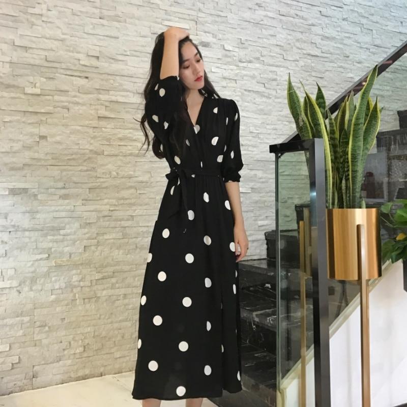 Fashion V-neck Ladies Long Dress Casual Half Sleeve Dot Dress Female New Dresses SuperAen Summer Women's Dress Korean Style 3