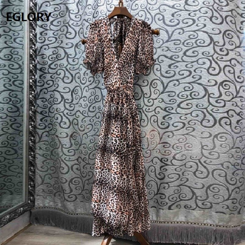 High Quality New 19 Summer Sexy Long Dress Women V-Neck Back Bow Elegant Half Sleeve Sexy Wild Leopard Print Beach Maxi Dress 1