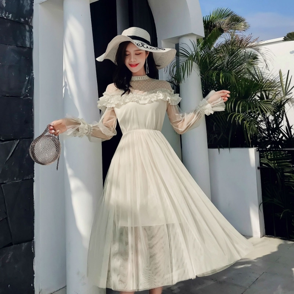 New 19 Spring Autumn Women dress Flare Sleeve Patchwork Mesh Turtleneck Half A High-end French Lace Dresses Blue Apricot 9086