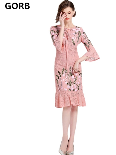 GORB 19 Newest Women Fashion Runway Lace Embroideried Pink Long Dress High Quality Flare Half Sleeve Slim Large Size Dresses
