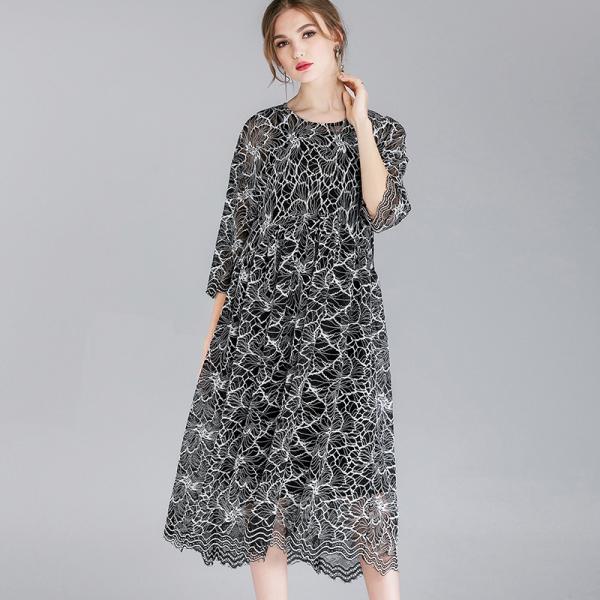 ladies lace long dress elegant party dressEmpire longos vestidos plus size half sleeves loose fit two pieces dress de festa 4XL