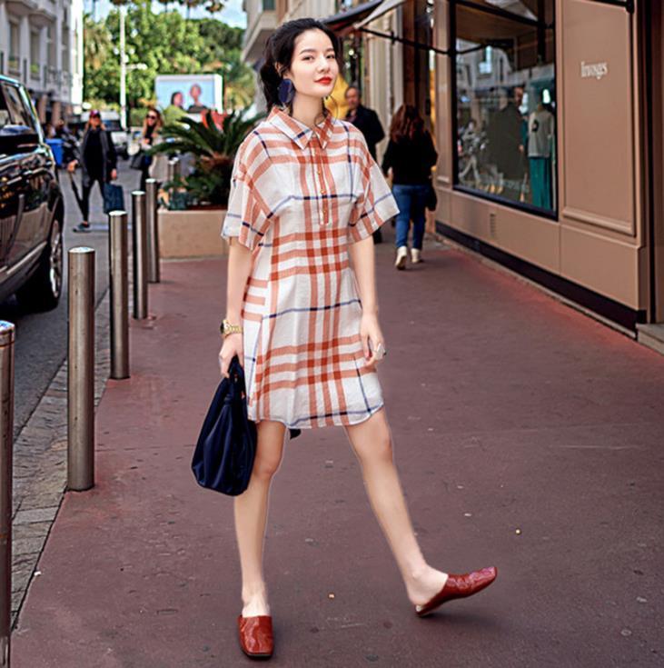Summer Designer Polo Shirt Dress Half Sleeve Plaid Short Dress Vintage Casual Sundress Vestidos 2