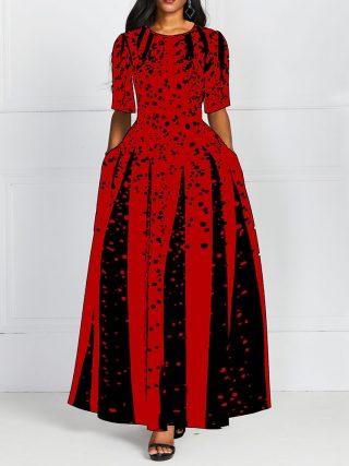 Fashion Women Red Half Sleeve Elegant Round Neck Boho Bandage Print Long Midi Dress Ladies Casual Slim Ladies Dress