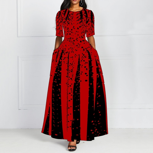 Fashion Women Red Half Sleeve Elegant Round Neck Boho Bandage Print Long Midi Dress Ladies Casual Slim Ladies Dress