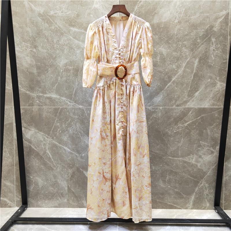 Runway Women Maxi Long Dress Sashes Printed V-neck 19 Summer Half Lantern Sleeves Dresses High Quality Feminine Button Vestido 3