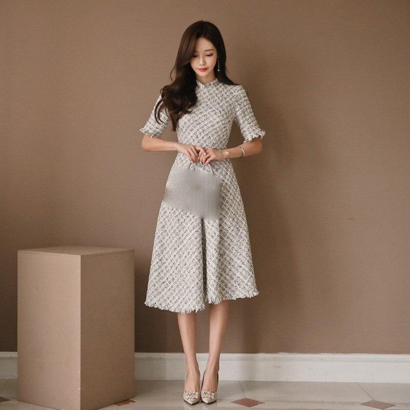 New Casual Fragrant Tweed Dress Elegant Half Sleeve High Waist Plaid Dress Empire Slim Fit A Line Tassel Knee Length Dress 1