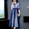 Mesh dress patwork elegant half sleeve shirt dress Women color block mesh dress patwork elegant half sleeve shirt dresses new 19 spring summer blue pink