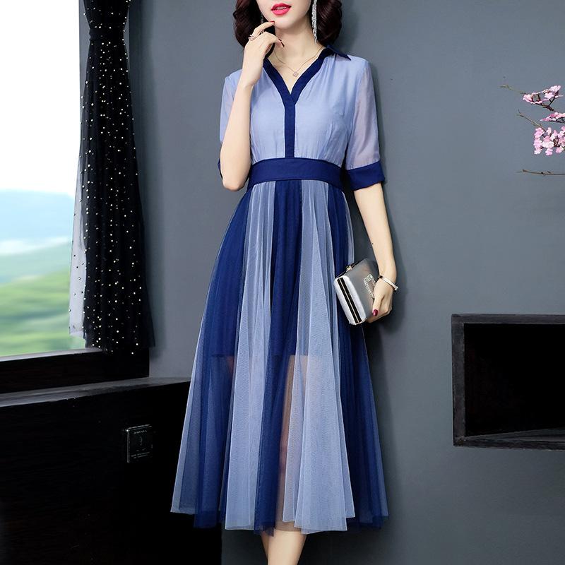 Women color block mesh dress patwork elegant half sleeve shirt dresses new 19 spring summer blue pink 3