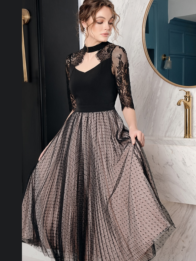 19 Spring Summer Original Design of Intellect and Elegant Dot Patchwork Lace Hollow Mesh Heavy Half Sleeve Woman Maxi Dress 1