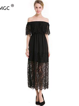 17 New Women Dress Slash Neck Lace Half Sleeve Dress Tall Waist Slim Ladies Hollow Out Womens Evening Long Dresses Elegant