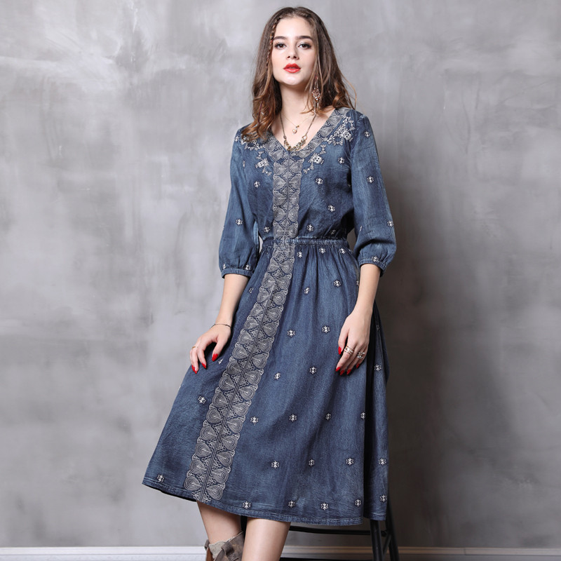 Vintage Autumn Dress Women 18 Denim Summer Dress V-Neck A-Line Half Sleeve Embroidery Women Dresses Vestidos Femininos 82110 2