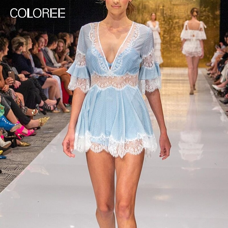 COLOREE 19 Women Blue/White Lace Mini Dress Sexy V-neck See-through Half Sleeve Sexy Dress For Female New Fashion Club Party