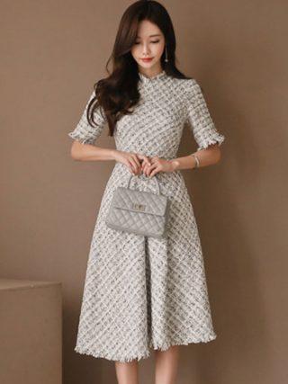 Women Dress Elegant Vintage Grid Lattice A-line Dress Women 18 Winter Half Sleeve Swing Dresses OL Tassels High Waist Vestidos