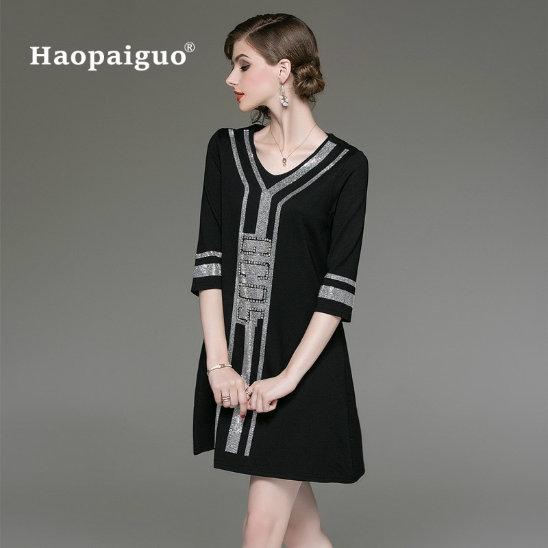 M-XXXL Plus Size Black A-Line Casual Dress Women V-neck Half Sleeve Elegant Mini Dress Women Loose Vintage Office Ladies Dresses 1