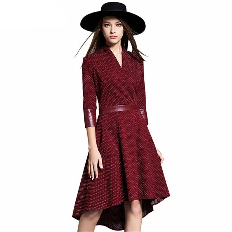 Vintage Irregular Dress Autumn PU Patchwork V Neck Half Sleeve Slim Party Dresses Vestidos Office Work Black Red Plus Size 1