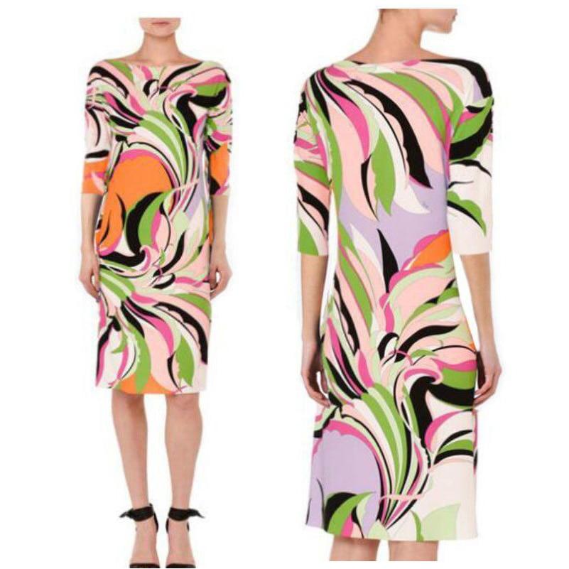 Women's new Italian fashion show o-Neck , pretty dress half sleeve printing knitting dress 1