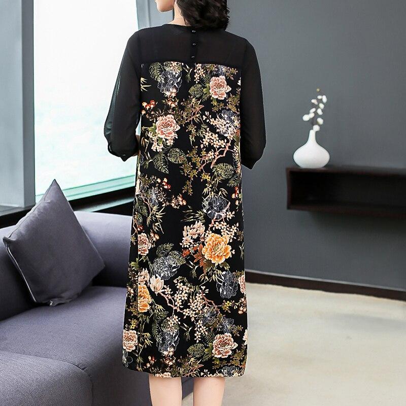 Plus Size Women Clothing Loose Autumn Dresses 18 New Fashion Print Chiffon Casual Costumes Lady Half Sleeves Straight Dress 3