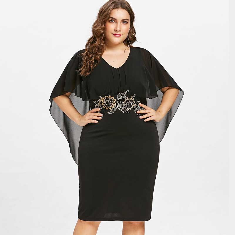Wipalo Women Fashions Plus Size 5XL Embroidery Capelet Semi Sheer V Neck Party Dress Half Sleeves Sheath Dress Vestidos Big Size 1