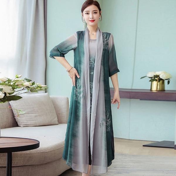 Summer New Women Two Piece Dresses 19 Plus Size Loose Vintage Chiffon Dresses Female Print Half Sleeve Long Dresses LJ2417
