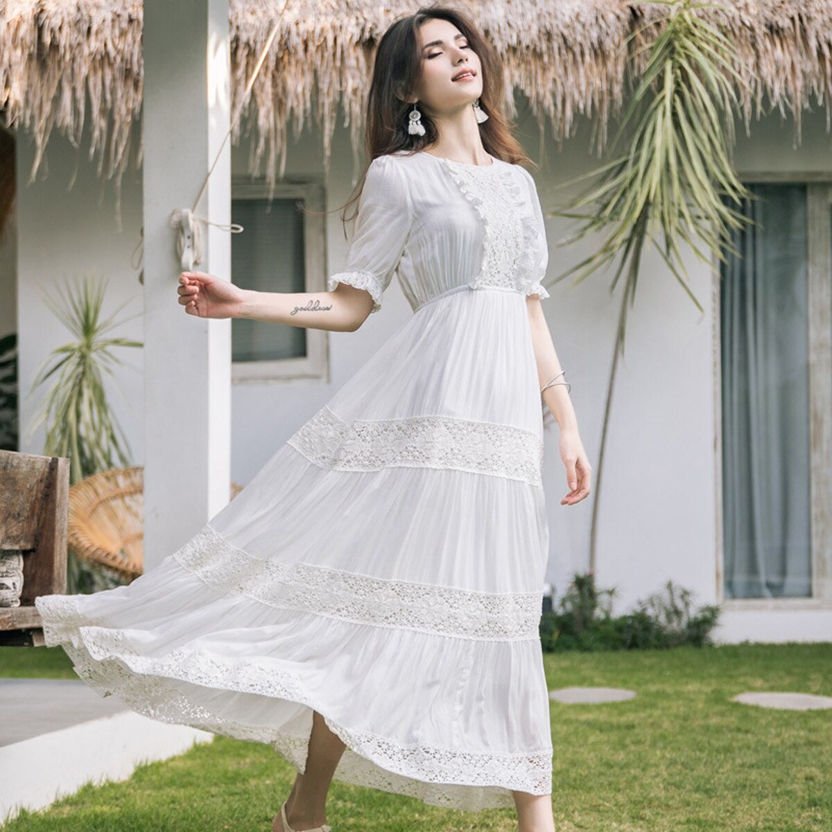 New Bohemian Hippie Big Swing Holiday Beach Dress O-Neck Half Sleeve Spring Summer Dresses Women White Patchwork Lace Dress 3