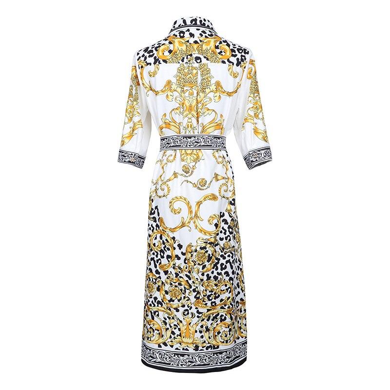 HIGH QUALITY New Fashion 19 Designer Runway Dress Women's Half Sleeve Retro Floral Print Dress 2