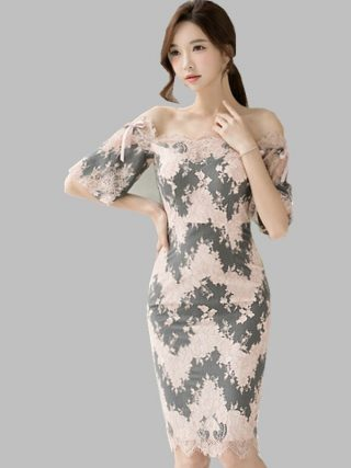 HAMALIEL Summer Slash Neck Pencil Dress Sexy Women Pink Printed Off Shoulder Bodycon Lace Dress Fashion Sheath Half Sleeve Dress