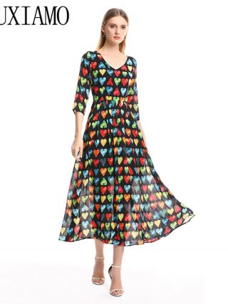 MIUXIMAO 19 Spring&Summer Long Dress New Arrival Fashion V-Neck Full Half Sleeve Heart Print Ankle-Length Dress Women vestido