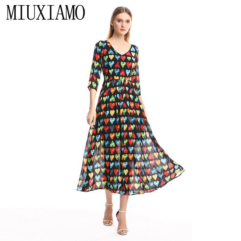 MIUXIMAO 19 Spring&Summer Long Dress New Arrival Fashion V-Neck Full Half Sleeve Heart Print Ankle-Length Dress Women vestido