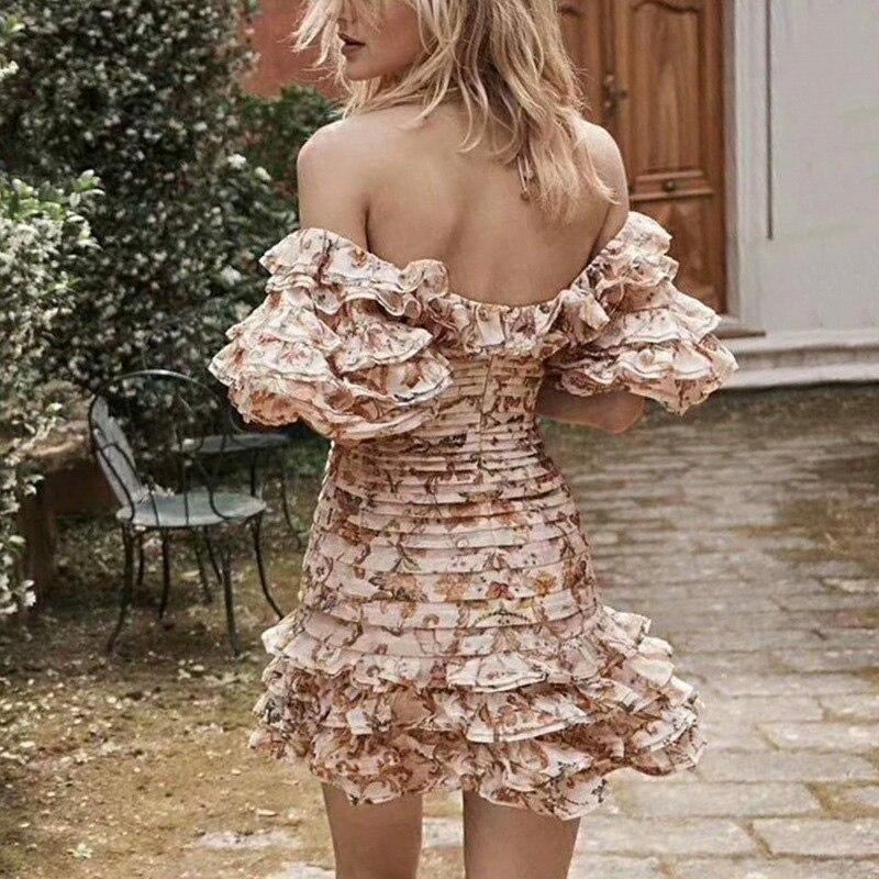 SONDR Sexy Off Shoulder Dresses Women Strapless Lantern Half Sleeve Patchwork Ruffle Print Dress Female 19 Summer New 2