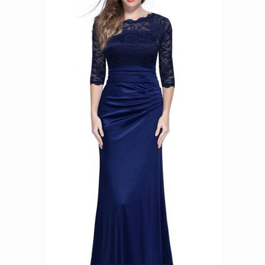 Dower Me Women Vestidos Half Sleeve Solid Lace A-Line Party Dress Y072 O-Neck Floor-Length Zipper Ruched Women Dress 3