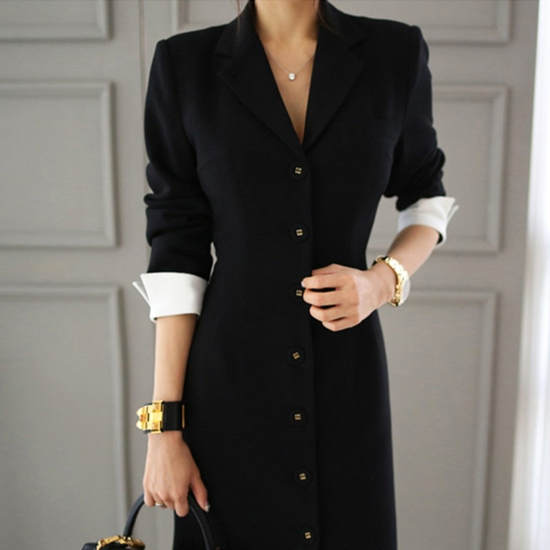 19 Runway Autumn Women straight knee-length Casual half sleeve dress slim office lady Work Wear Slim Button dresses Vestidos 2