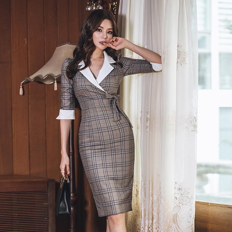 Autumn Notched Vintage Plaid Vestidos Bowknot Half Sleeve Knee-Length Bodycon Pencil Office Work Cloth Dress 3