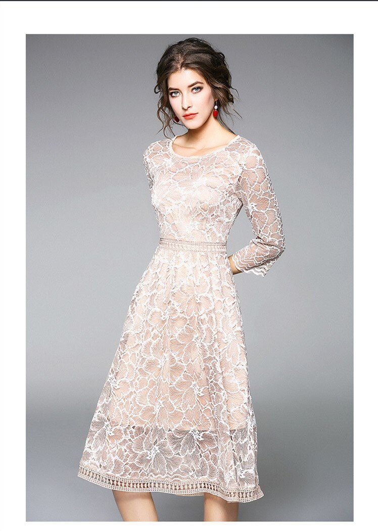 19 New Arrival Spring Women Party Dress O-Neck Round Neck A-Line Lace Dress Half Sleeve Knee Length Casual Dress 3