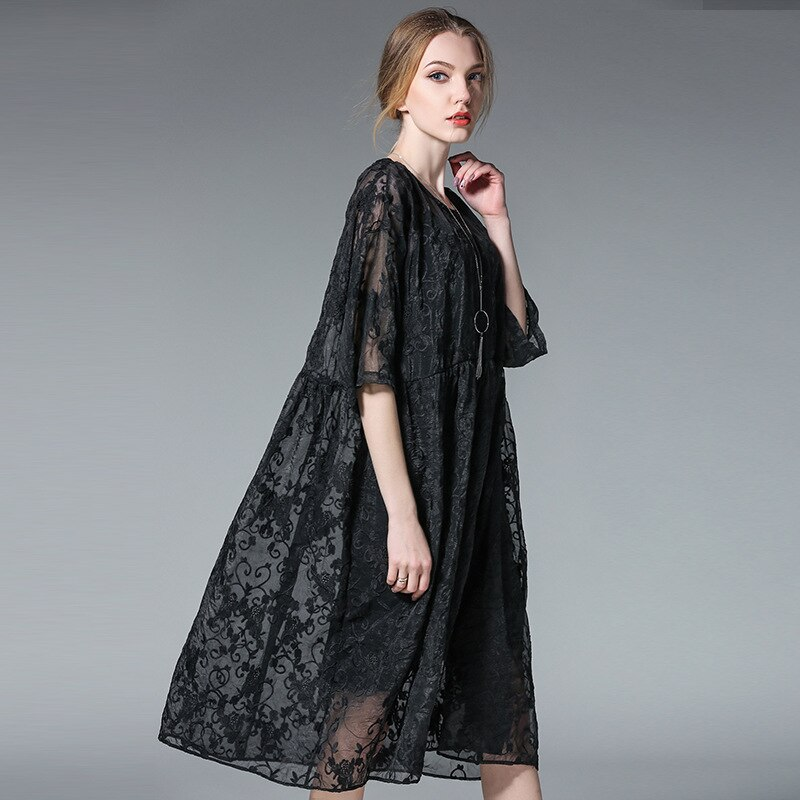 19 two pieces spring summer fashion dresses plus size half sleeve floral embroidery silk women oversized casual dress black 1