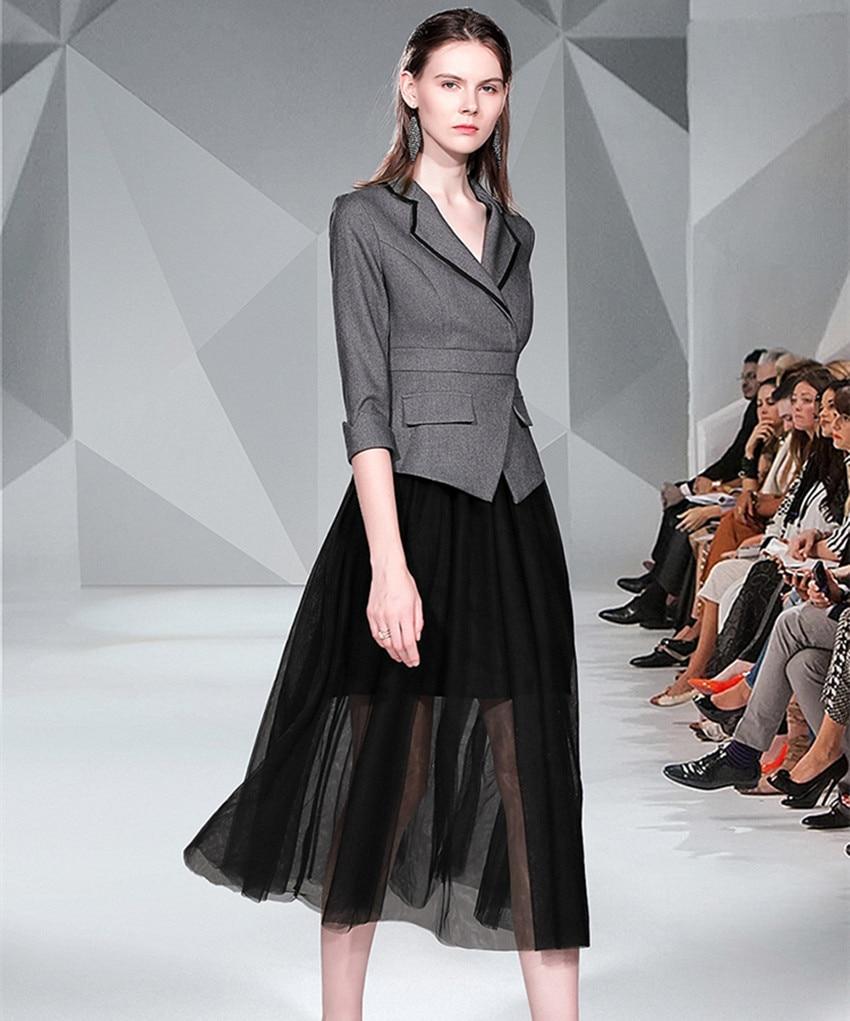 Spring Autumn Office Ladies Long Dress Runway Women's Gray Black Patchwork Mesh Half Sleeve Dress Notched Casual Work Vestidos 3