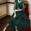 High Quality Retro 19 Spring New Arrival Bowknot Tie Flower Embroidery Half Sleeve Woman Long Chiffon Dress Green