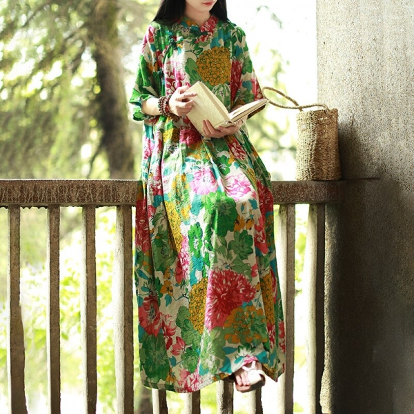 Hisenky 19 Mori Girl Half Sleeve Mandarin Collar Vintage Dress Plus Size Summer Maxi Dresses Long Women Dress Loose Vestidos