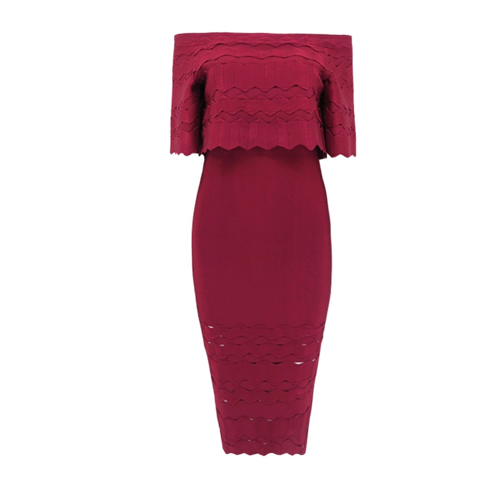 High Quality Wine Red Slash Neck Hollow Out Half Sleeve Bodycon Bandage Dress Evening Party Dress 3