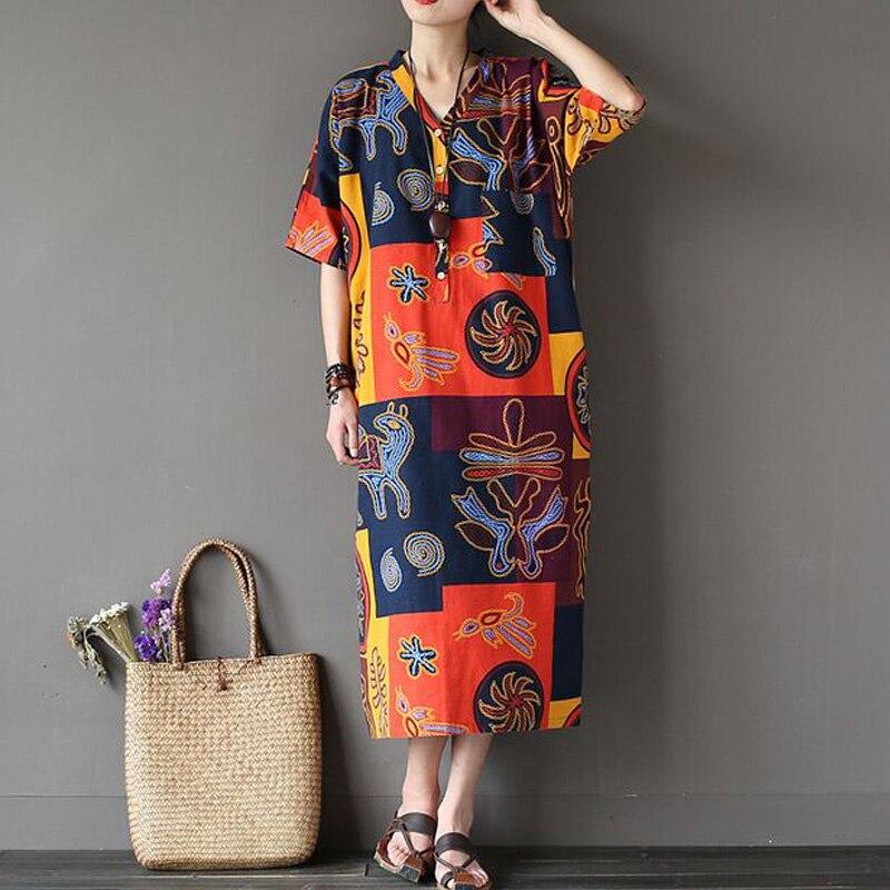 Women Summer Dress 17 New Fashion Women Dress Robes Print Flower Dress V-Neck Half Sleeve Loose Casual Plus Size Dress 3