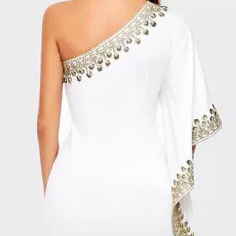 CHICEVER Lace Ball Gown Dress Women Asymmetrical Collar Off Shoulder Half Sleeve Ruffles Slim Female Dresses Fashion New Summer 3